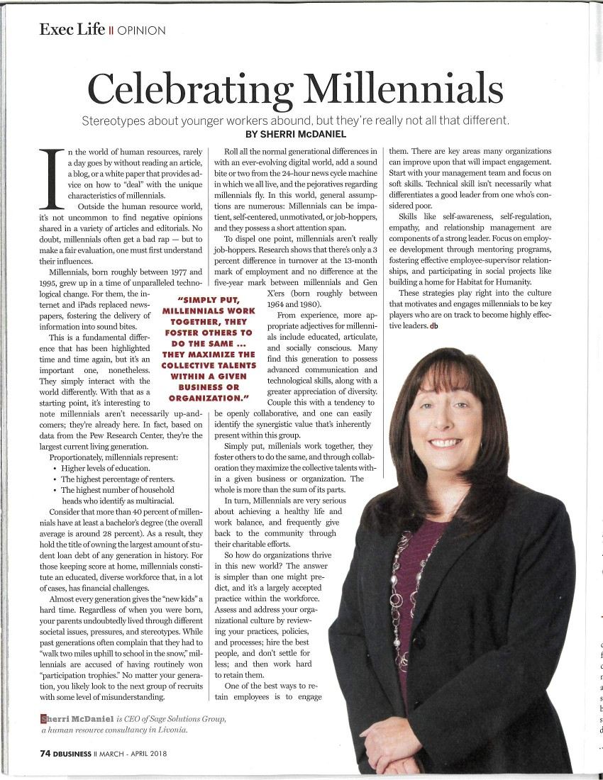 "Sage Solutions Group wrote an article published in DBusniess Magazine, ""Celebrating Millennials"" - Michigan Human Resources Blog - Sage Solutions Group - DBusiness_1"