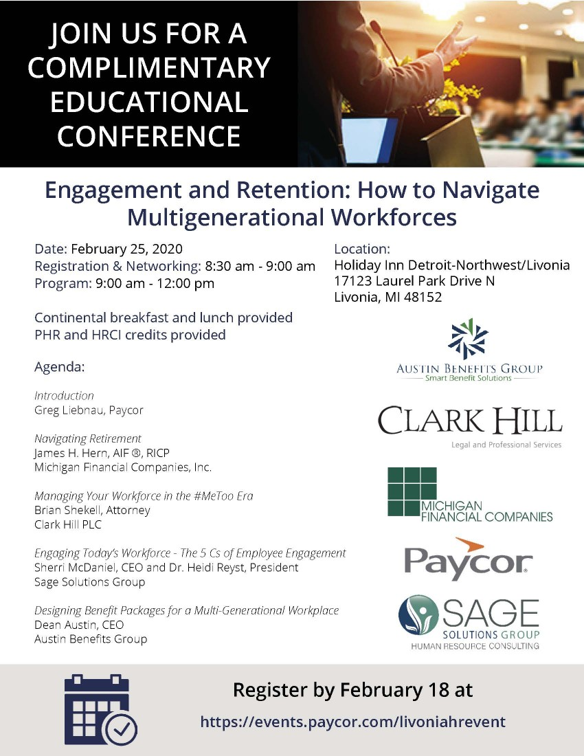 JOIN US FOR A COMPLIMENTARY CONFERENCE: Engagement and Retention: How to Navigate Multi-generational Workforces - Michigan Human Resources Blog - Sage Solutions Group - Sage_Seminar_2020